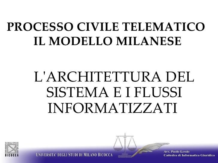 PROCESSO CIVILE TELEMATICO  IL MODELLO MILANESE <ul><ul><li>L'ARCHITETTURA DEL SISTEMA E I FLUSSI INFORMATIZZATI  </li><...