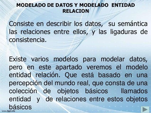 MODELADO DE DATOS Y MODELADO ENTIDAD RELACION Consiste en describir los datos, su semántica las relaciones entre ellos, y ...