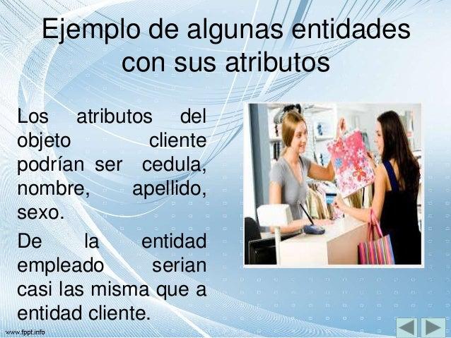 Ejemplo de algunas entidades con sus atributos Los atributos del objeto cliente podrían ser cedula, nombre, apellido, sexo...