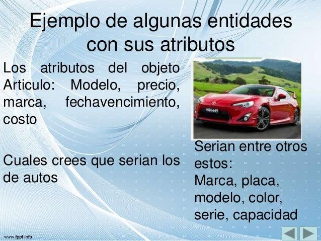 Ejemplo de algunas entidades con sus atributos Los atributos del objeto Articulo: Modelo, precio, marca, fechavencimiento,...