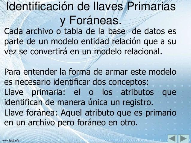 Identificación de llaves Primarias y Foráneas. Cada archivo o tabla de la base de datos es parte de un modelo entidad rela...