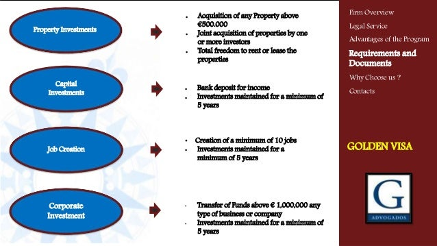 Property Investments VISA GOLD Capital Investments  Acquisition of any Property above €500.000  Joint acquisition of pr...