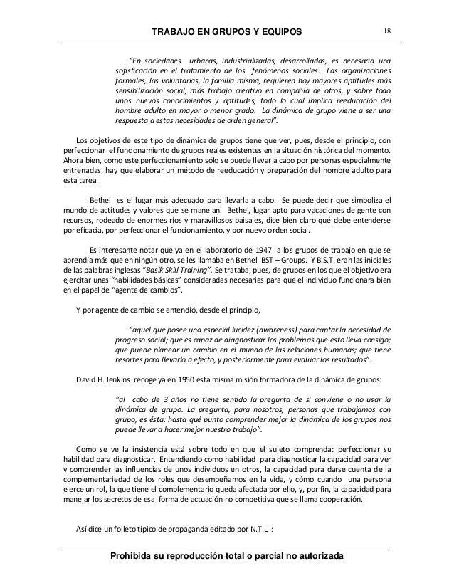"""TRABAJO EN GRUPOS Y EQUIPOS Prohibida su reproducción total o parcial no autorizada 18 """"En sociedades urbanas, industriali..."""