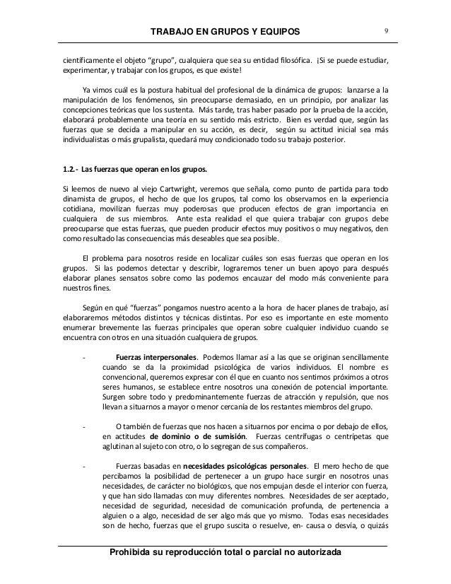 """TRABAJO EN GRUPOS Y EQUIPOS Prohibida su reproducción total o parcial no autorizada 9 científicamente el objeto """"grupo"""", c..."""