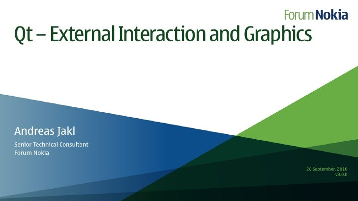 Qt – External Interaction and Graphics    Andreas Jakl Senior Technical Consultant Forum Nokia                            ...