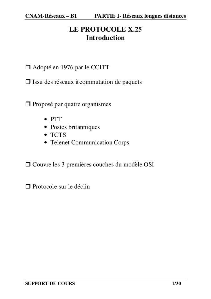CNAM-Réseaux – B1           PARTIE I- Réseaux longues distances                 LE PROTOCOLE X.25                     Intr...