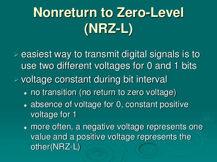 Nonreturn to Zero-Level             (NRZ-L) easiest way to transmit digital signals is to  use two different voltages for...