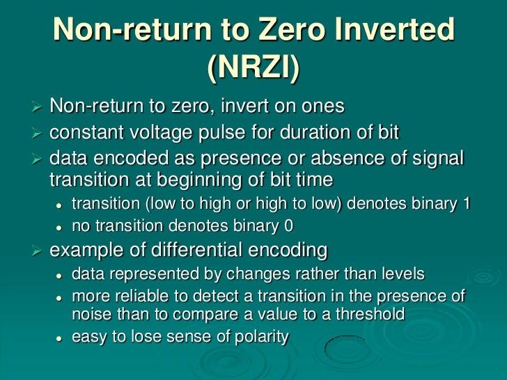 Non-return to Zero Inverted              (NRZI) Non-return to zero, invert on ones constant voltage pulse for duration o...