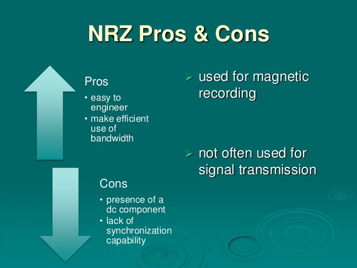 NRZ Pros & ConsPros                      used for magnetic• easy to                  recording  engineer• make efficient ...