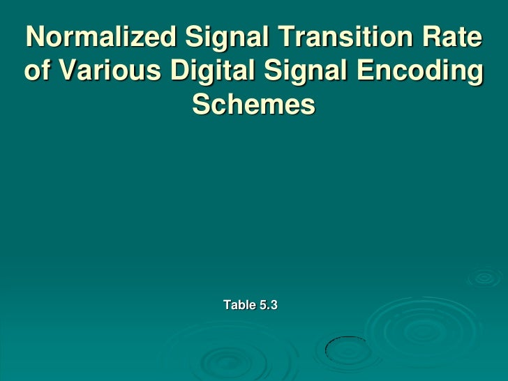 Normalized Signal Transition Rateof Various Digital Signal Encoding            Schemes              Table 5.3