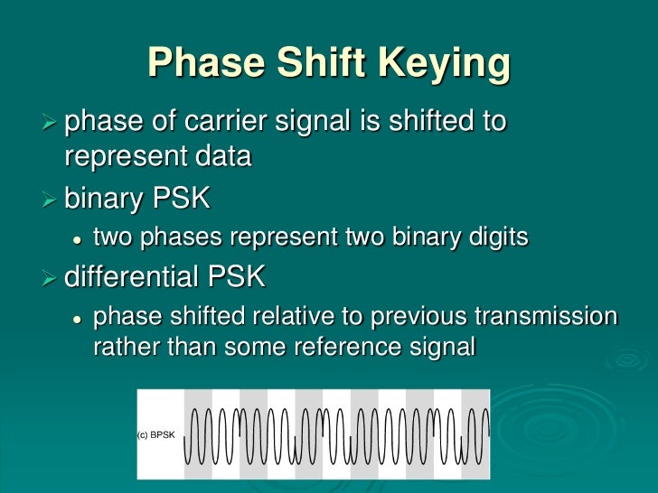 Phase Shift Keying phase  of carrier signal is shifted to  represent data binary PSK     two phases represent two binar...