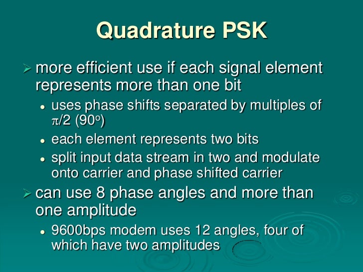 Quadrature PSK moreefficient use if each signal element represents more than one bit     uses phase shifts separated by ...