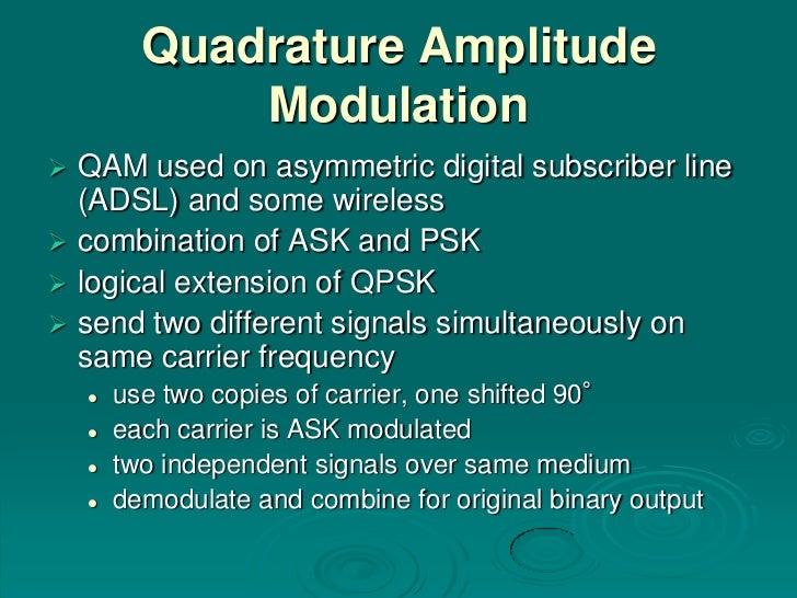 Quadrature Amplitude              Modulation QAM used on asymmetric digital subscriber line  (ADSL) and some wireless co...