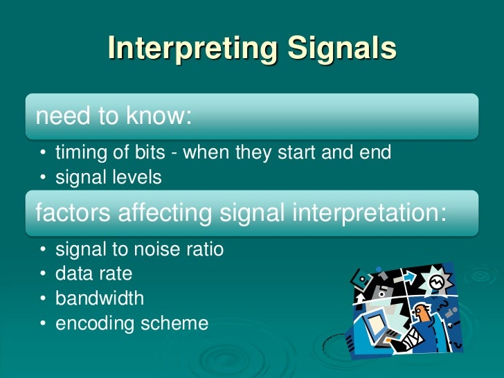 Interpreting Signalsneed to know:• timing of bits - when they start and end• signal levelsfactors affecting signal interpr...