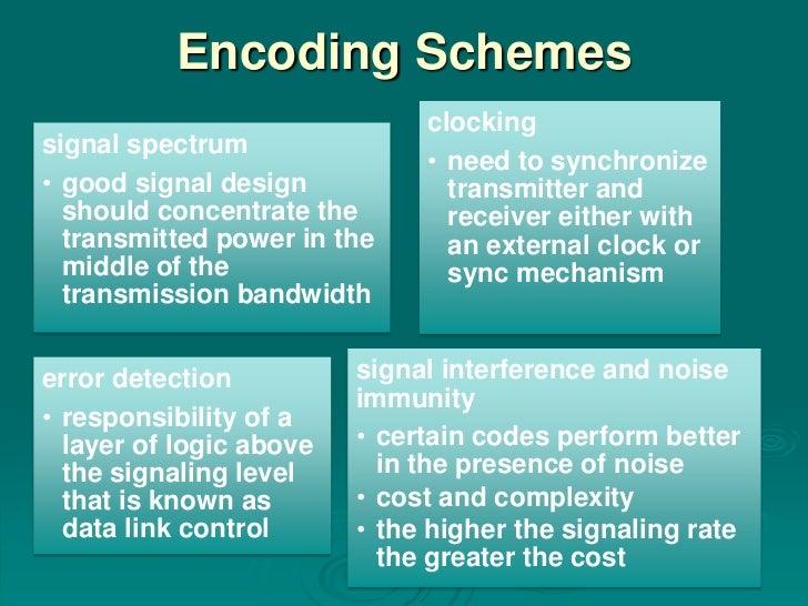 Encoding Schemes                              clockingsignal spectrum                              • need to synchronize• ...