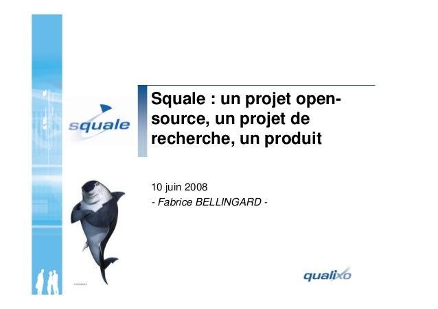 Squale : un projet open- source, un projet de recherche, un produit 10 juin 2008 - Fabrice BELLINGARD -