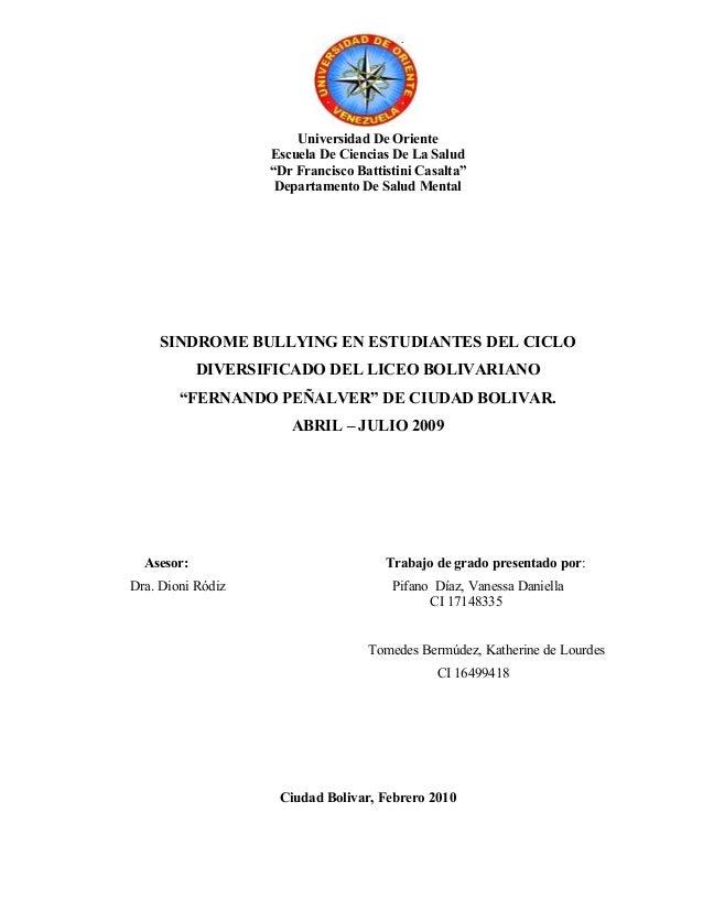 """Universidad De Oriente Escuela De Ciencias De La Salud """"Dr Francisco Battistini Casalta"""" Departamento De Salud Mental SIND..."""