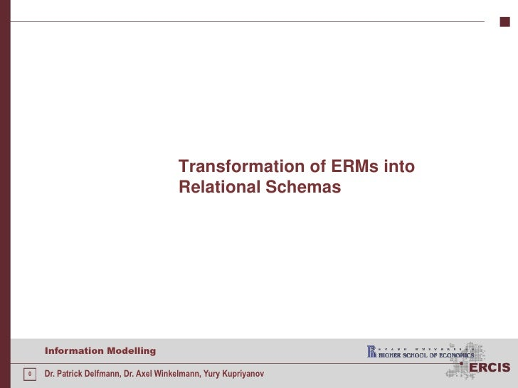 Transformation of ERMs into Relational Schemas<br />