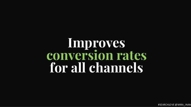 Improves conversion rates for all channels #SEARCHLOVE @MIRA_INAM
