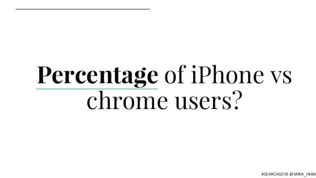 Percentage of iPhone vs chrome users? #SEARCHLOVE @MIRA_INAM