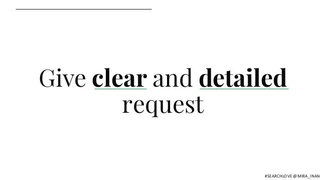 Give clear and detailed request #SEARCHLOVE @MIRA_INAM
