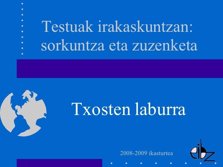 Txosten laburra Testuak irakaskuntzan:  sorkuntza eta zuzenketa 2008-2009 ikasturtea