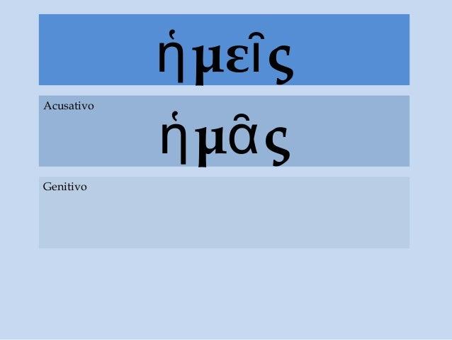 με ςἡ ῖ μ ςἡ ᾶ Acusativo Genitivo