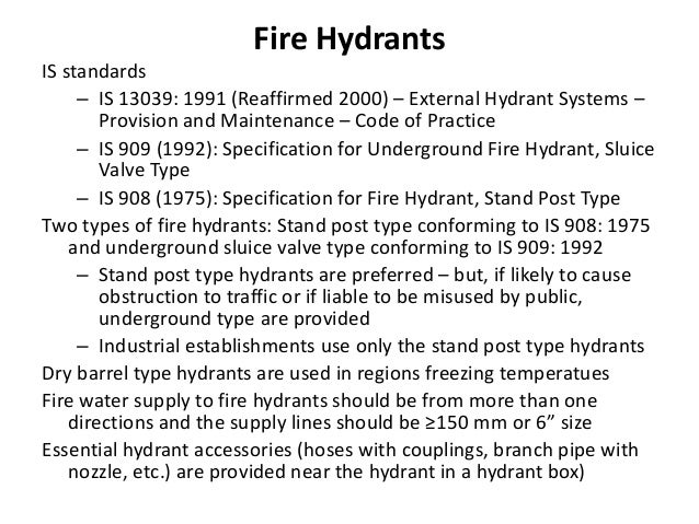 Fire Hydrants IS standards – IS 13039: 1991 (Reaffirmed 2000) – External Hydrant Systems – Provision and Maintenance – Cod...