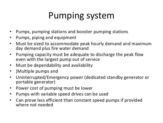 Pumping system • Metering of pumped water for knowing losses from leaks and other losses • Monitoring the pump efficiency ...