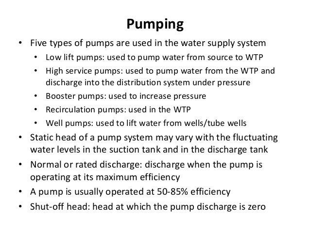 Types of storage or reservoirs Impoundment reservoirs, underground reservoirs, surface or ground level reservoirs, break p...