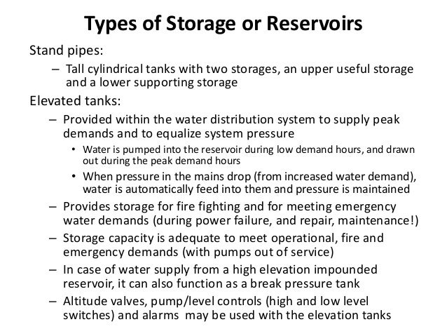 Elevated Service/Storage Reservoirs Location • Location depends on local conditions • Strategically located for maximum be...