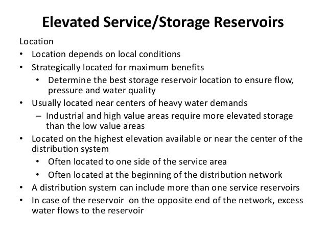 Reservoir Storage Capacity Design involves consideration of storage capacity and operating range of water elevations, etc....
