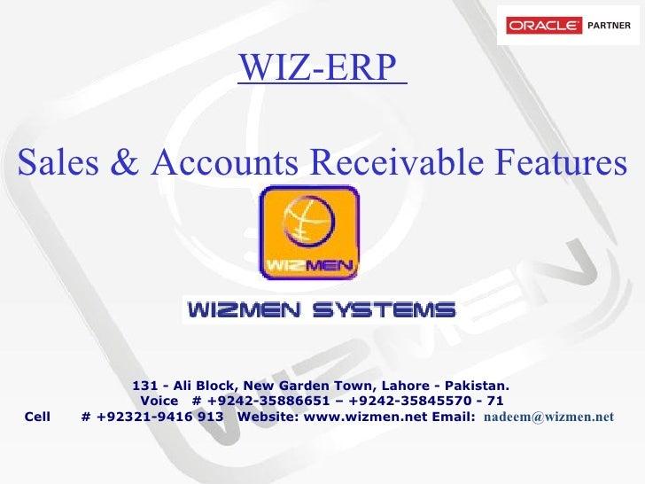 WIZ-ERP  Sales & Accounts Receivable Features
