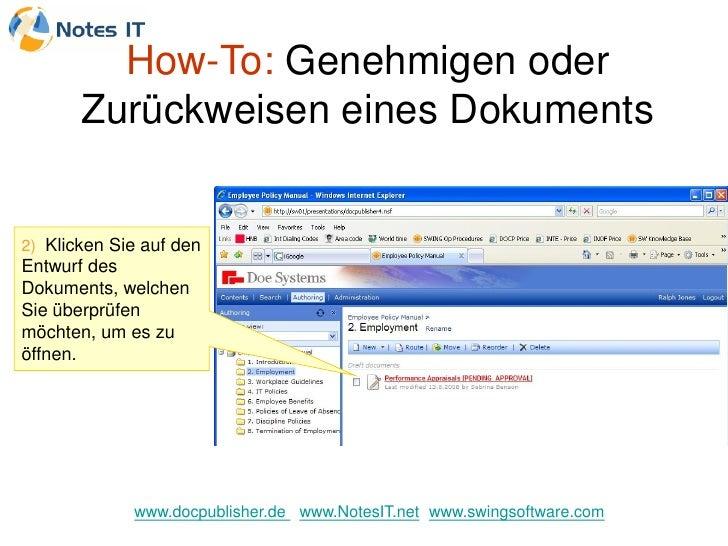 How-To: Genehmigen oder        Zurückweisen eines Dokuments   2) Klicken Sie auf den Entwurf des Dokuments, welchen Sie üb...