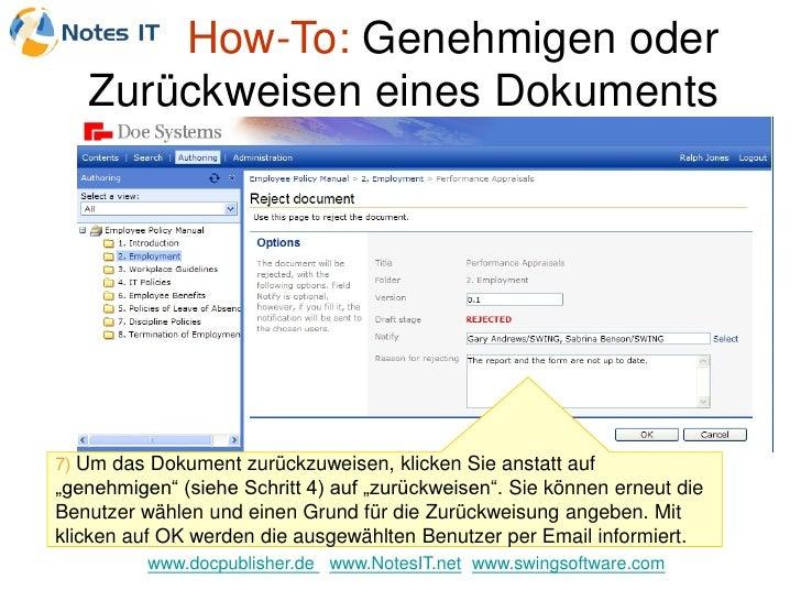 """How-To: Genehmigen oder    Zurückweisen eines Dokuments     7) Um das Dokument zurückzuweisen, klicken Sie anstatt auf """"ge..."""