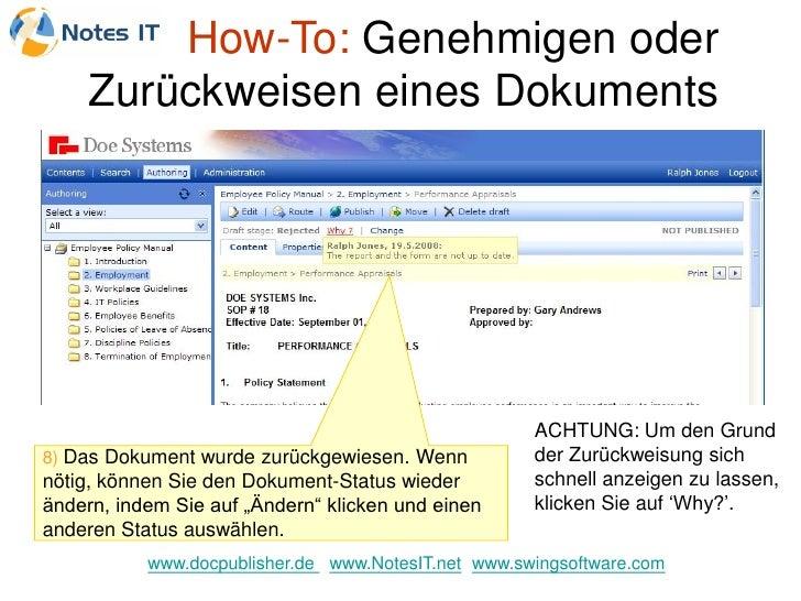 How-To: Genehmigen oder      Zurückweisen eines Dokuments                                                          ACHTUNG...