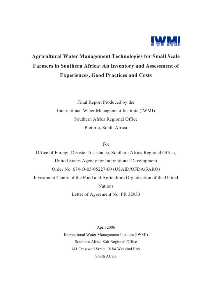 Agricultural Water Management Technologies for Small ScaleFarmers in Southern Africa: An Inventory and Assessment of      ...