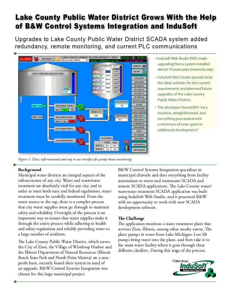 Lake County Public Water District Grows With the Helpof B&W Control Systems Integration and InduSoftUpgrades to Lake Count...