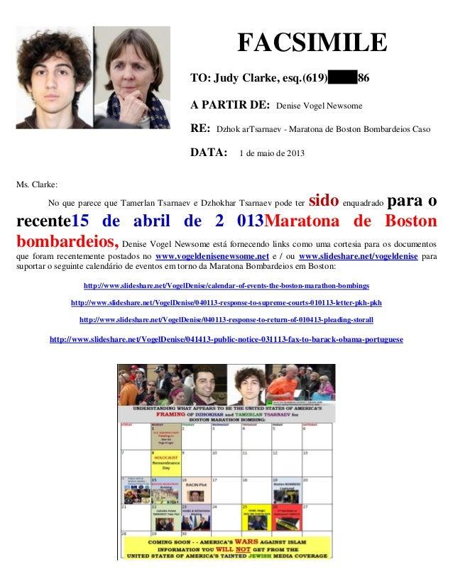 FACSIMILE TO: Judy Clarke, esq.(619) 86 A PARTIR DE: Denise Vogel Newsome RE: Dzhok arTsarnaev - Maratona de Boston Bombar...