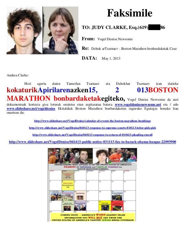 Faksimile TO: JUDY CLARKE, Esq.(619) 86 From: Vogel Denise Newsome Re: Dzhok arTsarnaev - Boston Marathon bonbardaketak Ca...