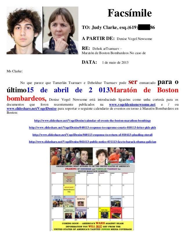 Facsímile TO: Judy Clarke, esq.(619) 86 A PARTIR DE: Denise Vogel Newsome RE: Dzhok arTsarnaev – Maratón de Boston Bombard...
