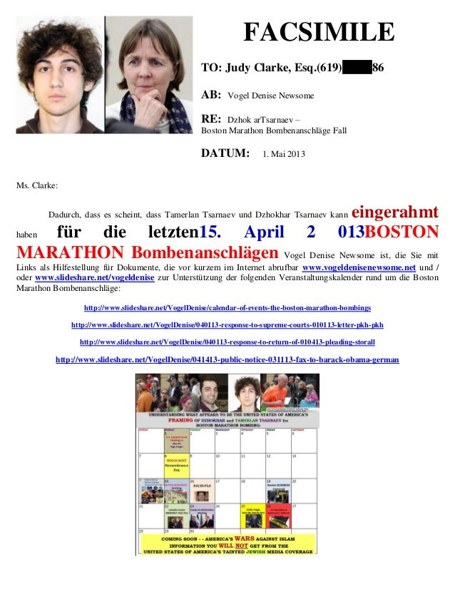 FACSIMILE TO: Judy Clarke, Esq.(619) 86 AB: Vogel Denise Newsome RE: Dzhok arTsarnaev – Boston Marathon Bombenanschläge Fa...
