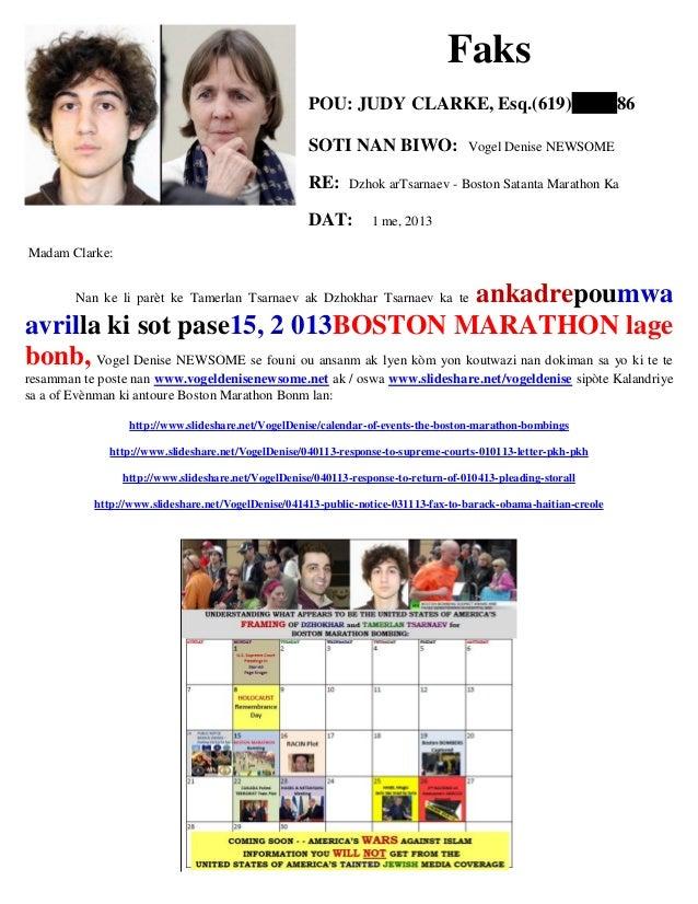Faks POU: JUDY CLARKE, Esq.(619) 86 SOTI NAN BIWO: Vogel Denise NEWSOME RE: Dzhok arTsarnaev - Boston Satanta Marathon Ka ...