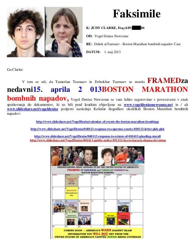 Faksimile K: JUDY CLARKE, Esq.(619) 86 OD: Vogel Denise Newsome RE: Dzhok arTsarnaev - Boston Marathon bombnih napadov Cas...