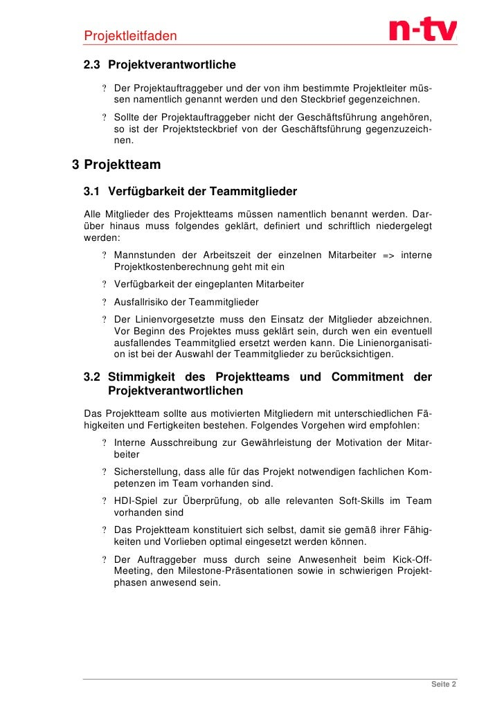 Projektleitfaden für das Unternehmen n-tv Slide 3
