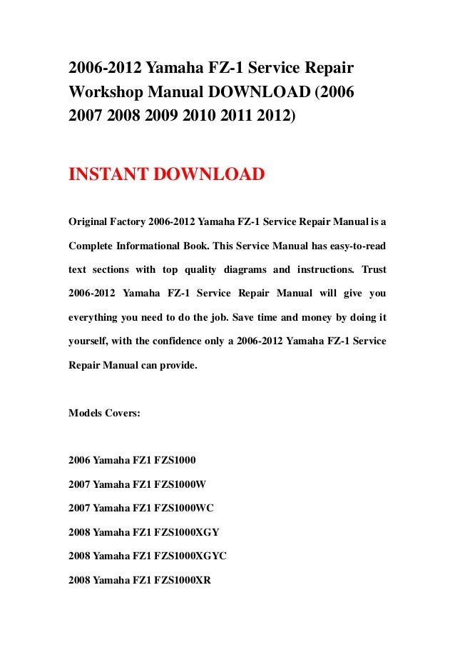 download now yamaha fzs6 fzs 6 2007 07 service repair workshop manual instant download