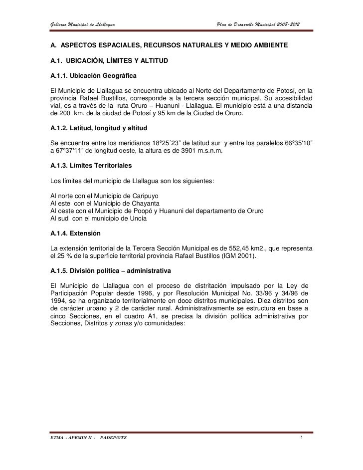 Gobierno Municipal de Llallagua                              Plan de Desarrollo Municipal 2008-2012A. ASPECTOS ESPACIALES,...