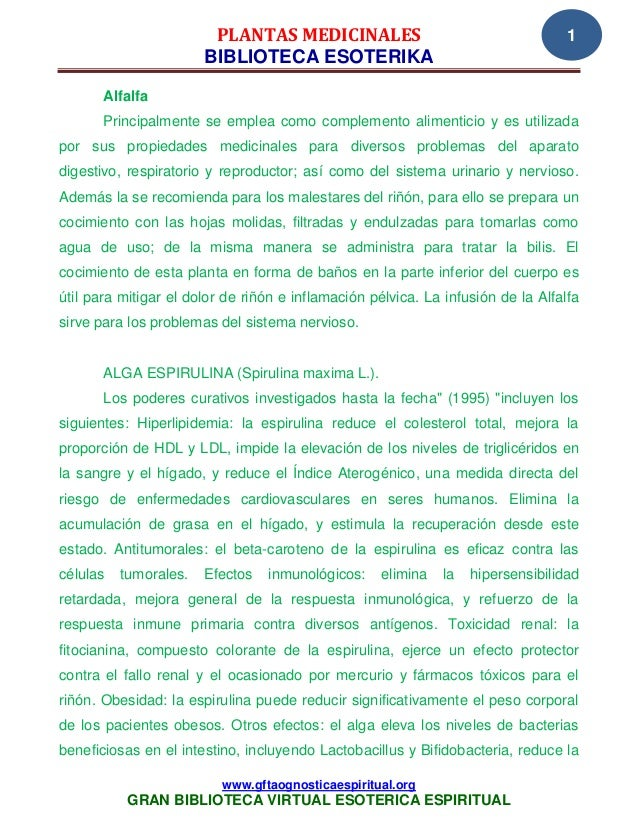 PLANTAS MEDICINALES                                       1                       BIBLIOTECA ESOTERIKA       Alfalfa      ...
