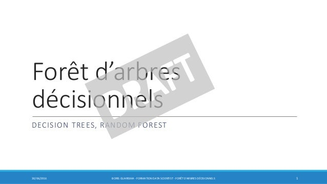 Forêt d'arbres décisionnels DECISION TREES, RANDOM FOREST 30/06/2016 BORIS GUARISMA - FORMATION DATA SCIENTIST - FORÊT D'A...