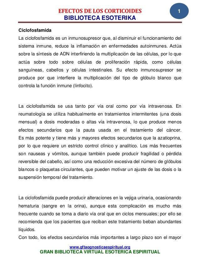 EFECTOS DE LOS CORTICOIDES                                   1                      BIBLIOTECA ESOTERIKACiclofosfamidaLa c...